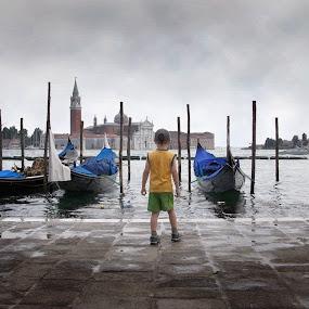 Dreams  by Victor Mukherjee - Landscapes Travel ( water, child, gondola, boats, venice, traveller, san marco, boy, island )