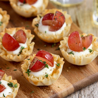 Mini Phyllo Cups with Whipped Goat Cheese, Grapes, and Thyme.