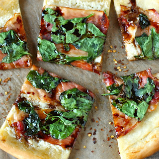Prosciutto, Mascarpone, and Spinach Pizza with Balsamic Glaze