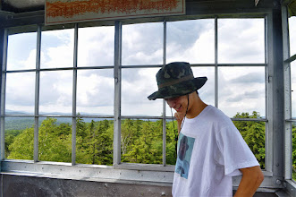Photo: Admiring the view from the fire tower at Allis State Park