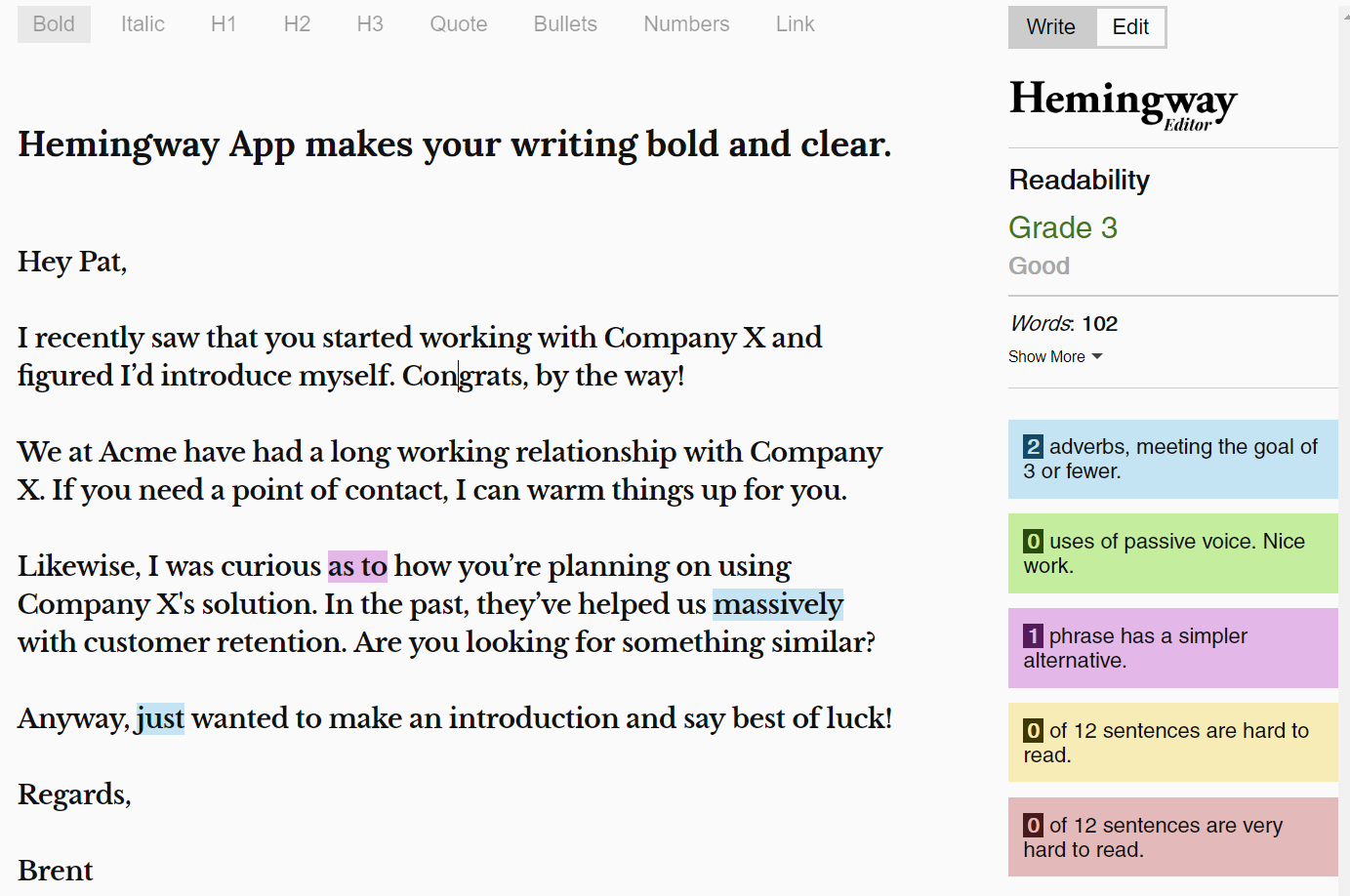 use the hemingway app to improve your emails' readibility