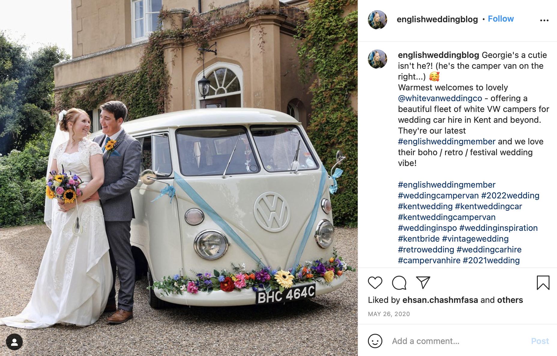 Campervan for wedding car