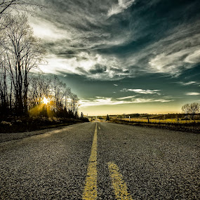 Lonely Lonesome Highway by Sarah Hauck - City,  Street & Park  Street Scenes ( deviding lines, asphalt, street, road, travel )