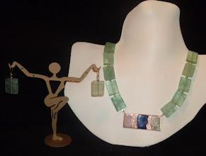 Photo: <BEREHYNYA> {Great Goddess Protectress} unique one-of-a-kind statement jewellery by Luba Bilash ART & ADORNMENT  - copper enamel pendant, aquamarine, 14K gold vermeil SOLD