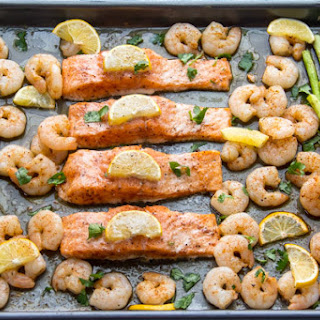 Baked Salmon Shrimp and Asparagus