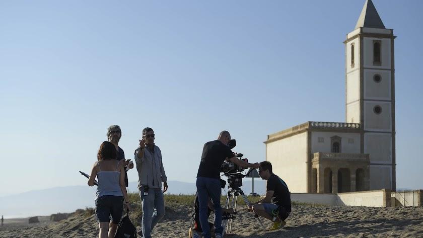 Rodaje en Las Salinas de Cabo de Gata del filme \'La vida era eso\'.