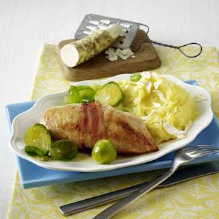 Bacon Wrapped Chicken with Horseradish Mashed Potatoes and Brussels Sprouts.