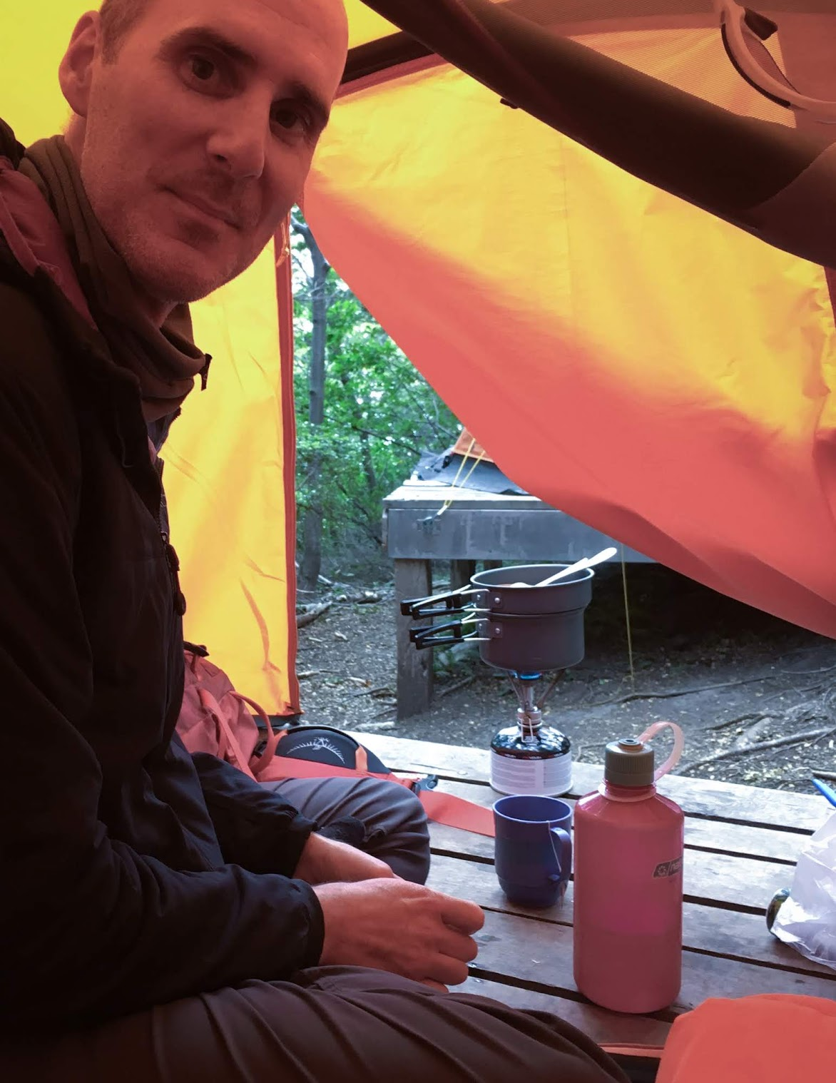 It continued to rain all evening so we were stuck to making food from inside our tent.