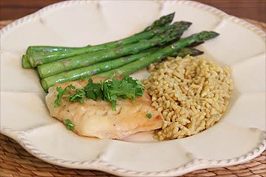 Drunken Tilapia With Steamed Asparagus And Rice Pilaf