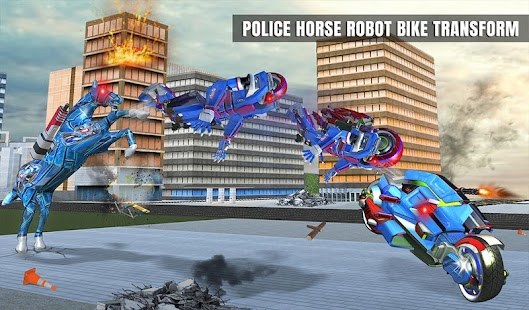 US Police Horse Robot Bike Transform Wild Cop Game Screenshot