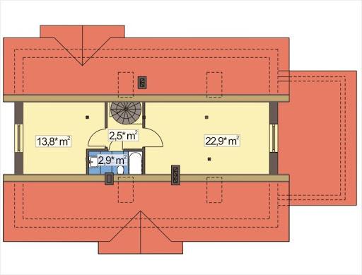 Alex wersja D z garażem strop Teriva - Rzut poddasza