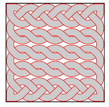 Photo: Got about half my grading done, so celebrated by working on the interface.  Here's what you'd write in the document to produce the attached picture:  \begin{tikzpicture}[ scale=.5, celtic path/.style={ draw, double=gray!40, red, double distance=4mm, line width=1pt }, celtic surround/.style={ ultra thick, black, draw }, ] \CelticDrawPath[ size={12,12}, symmetric crossings={ 2:10,3:9,- }, at={(1,1)} ] \end{tikzpicture}  (I notice no-one has posted a question about this on TeX-SX.  Looks like I might have to ask-and-answer it myself.)