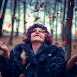 Autumn by Alexandru Tache - People Portraits of Women ( love, woman, sexy, tree, portrait, eyes, people, cute, beautiful, mountain, outdoors, leaves, dream, model, autumn, photography, fashion )
