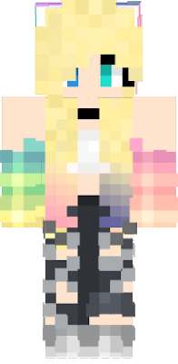 rainbow hair minecraft skin