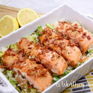 Herb Marinated Salmon & Savory Rice