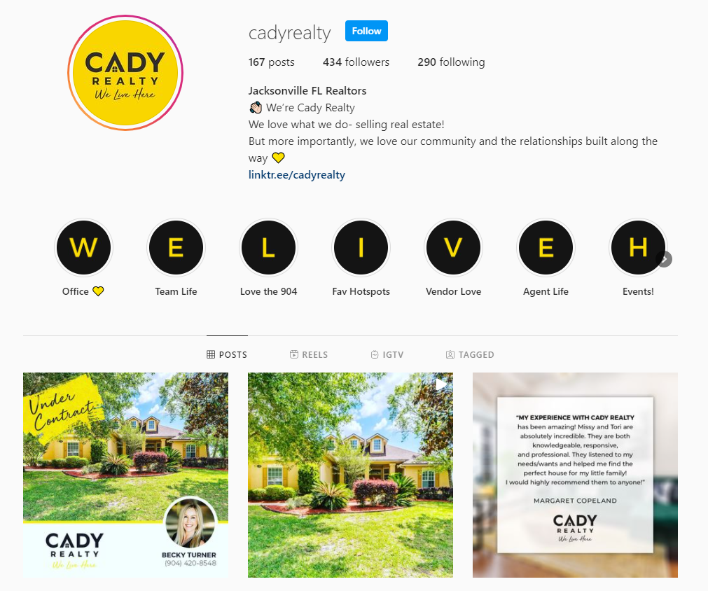 Cady Realty Instagram profile