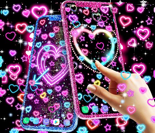 Neon hearts live wallpaper ss1