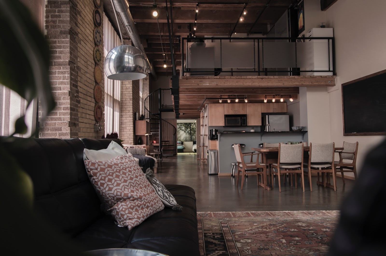Interior real estate shot of industrial loft space