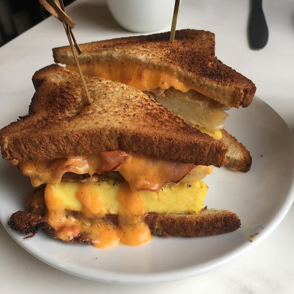 Egg, scalloped potatoes, pimento sandwich on GF toast.  Awesome!