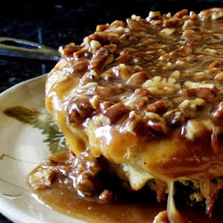 Buttermilk Skillet Cake with Pecan Praline Topping.