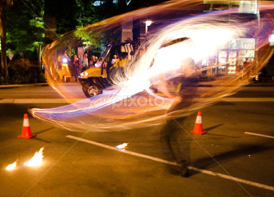 Fire In Motion  by William Brunson Jr. - Abstract Fire & Fireworks ( orange, fire spinning, fire performance, fire art, fire spinner, black, fire )