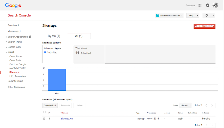 Sitemap submitted to Google Webmaster Tools