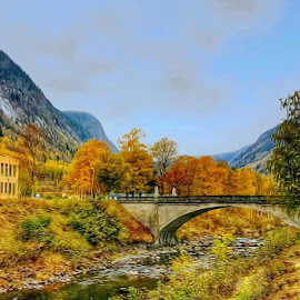 Rjukan Norway by Monita Alstadsæter - Digital Art Places ( norway, photo art, autumn, colors, autumn in rjukan )