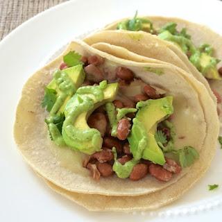 Avocado, Bean & Chipotle Cheddar Tacos.