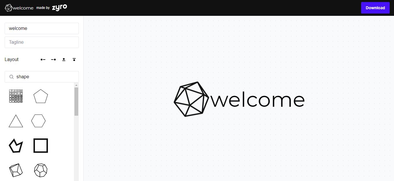 Zyro's Logo Maker editor