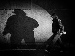 """Photo: shadow on the wall... Project """"Flash the Street"""" with the Light Blaster  #street #streetphotography #shootthestreet #blackandwhite #blackandwhitephotography #bw #monochrome"""