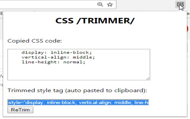 CSS TRIMMER