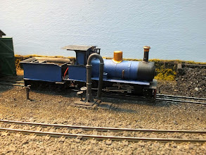Photo: 120 An attractive modification of the Roxey Cyprus Government 2-6-0 tender loco and built onto what several of us surmised is a Kato C56 chassis, spotted at Ilfracombe East. I'm advised that this very attractive version of the CGR Nasmyth Wilson mogul was made by Dan Foard. It was also noticed that, like a certain little green railcar, it surfaced on at least 3 layouts during the event! .