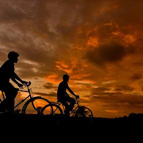 Cpmpanion by Gourab Mitra - Transportation Bicycles ( sunset, nicycle, landscape, dusk, cpmpanion,  )