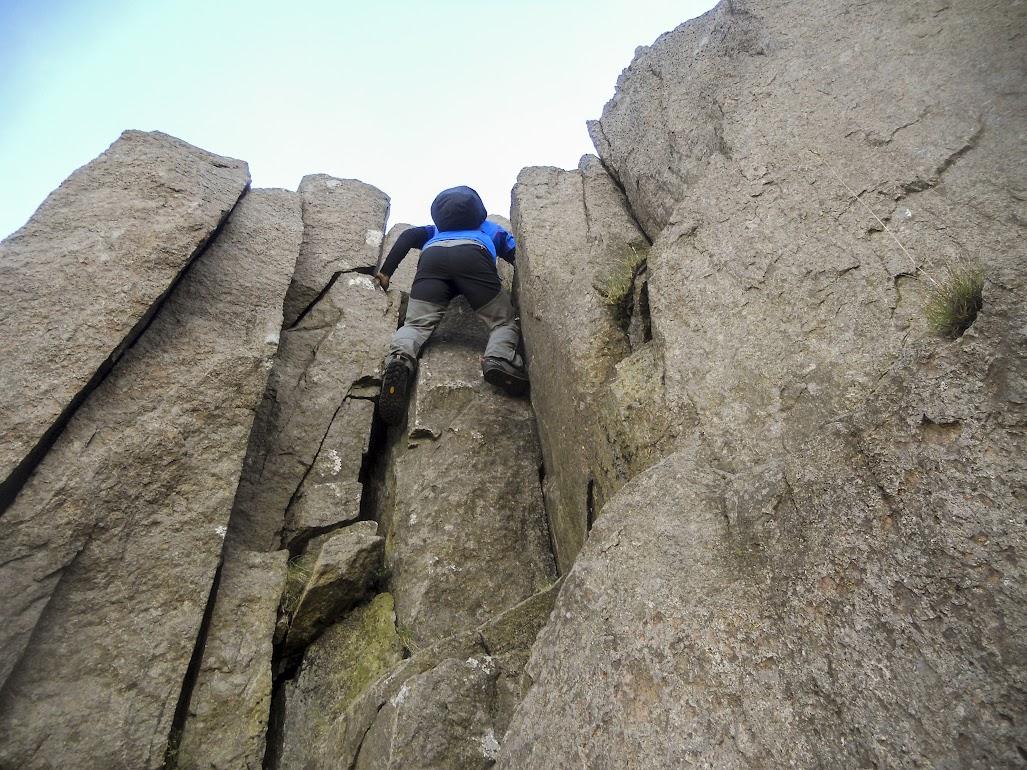Climbing the crux of the Clogwyn y Person scramble