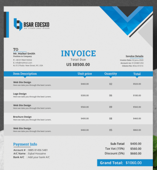 Invoice downloadable template