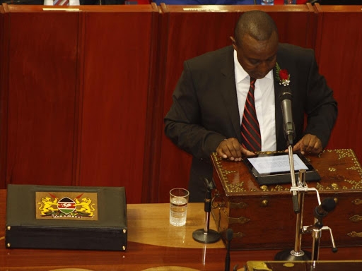 Treasury Cabinet Secretary Henry Rotich reading the budget at Parliament. FILE