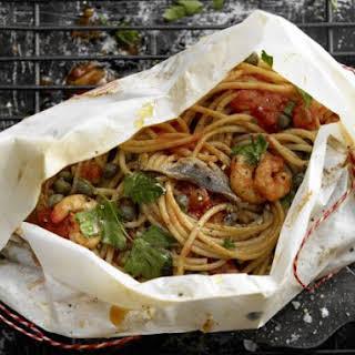 Spaghetti and Prawn Parcels.