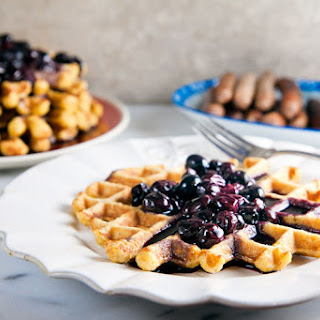 Sweet Corn Waffles with Blueberry-Bourbon Syrup.