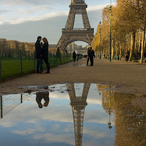 Reflections by Victor Mukherjee - Landscapes Travel ( water, love, paris, landmark, eiffel, reflections, trees, france, couple, people )
