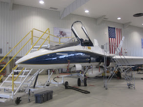 Photo: Hangar #4802. FA-18 Super Hornet twin-engine carrier-based multi-role fighter aircraft.
