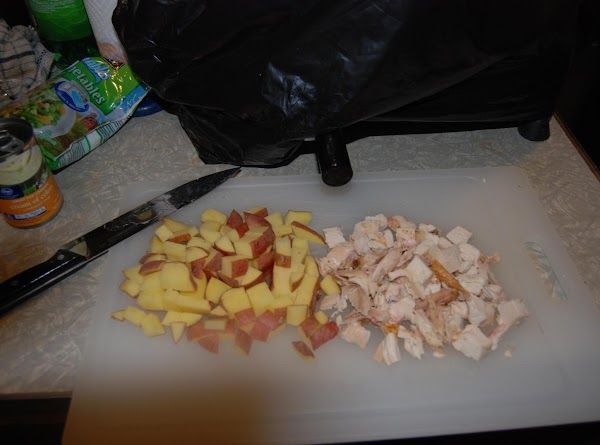 Cube the potatoes and pull off the chicken meat off the bones and cube...