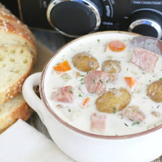 Crock Pot Potato and Ham Soup.