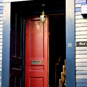 Red door to the stairs by Martin Stepalavich - Buildings & Architecture Homes (  )