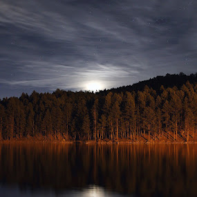 Moon rising  by Angelica Less - Landscapes Waterscapes ( black hills, moon, waterscape, south dakota, lake, moonlight,  )