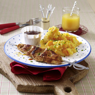 Barbecue Turkey Skewers with Root Veggie Mash