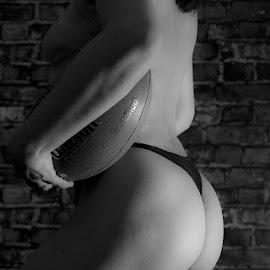 Football by Antonio Gansa - Nudes & Boudoir Boudoir ( nude, football, black and white, woman, boudoir )