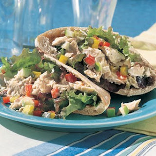 Tuna, Pickle, and Chopped-Vegetable Pita Sandwiches recipe | Epicurious.com.