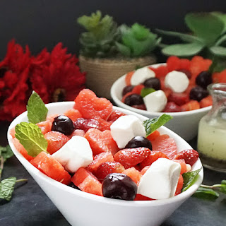 Valentine Fruit Salad With Poppy Seed Dressing.