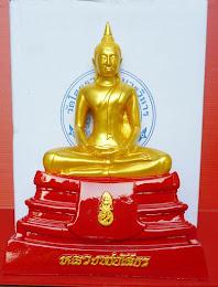 พระพุทธโสธร เนื้อเรซิน องค์ทอง-ฐานแดง ขนาดบูชา หน้าตัก 5 นิ้ว ความสูง 9.5 นิ้ว