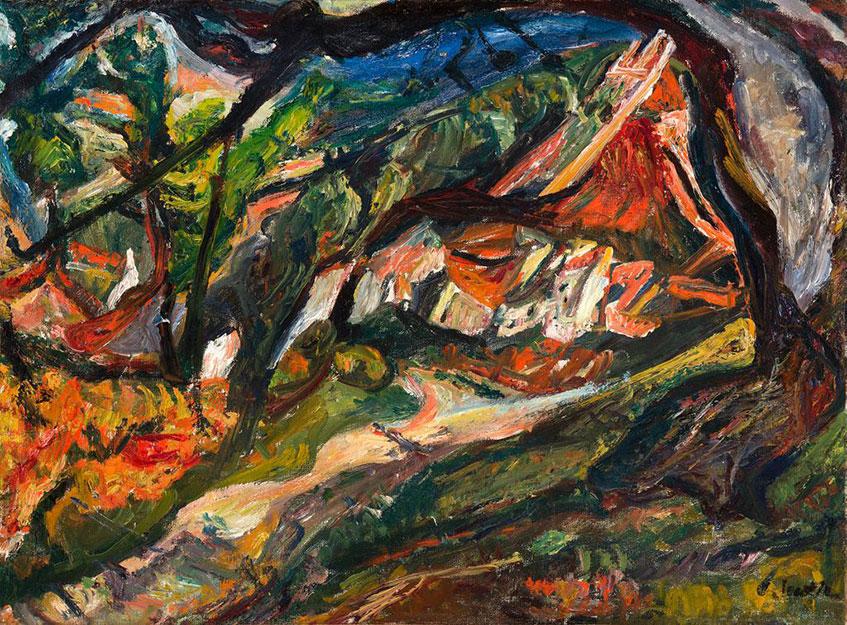 Хаим Сутин. Пейзаж с домом и деревом.